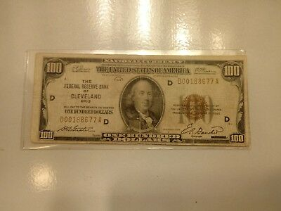 Series 1929 100 dollar national currency note Cleveland 'D' stamped on face GOOD