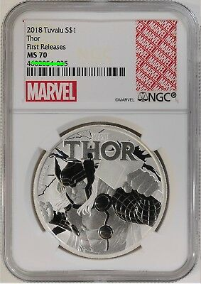 2018 Tuvalu Thor 1 oz Silver Marvel Series $1 NGC MS70 FR Excl Label
