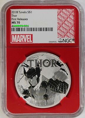 2018 Tuvalu Thor 1 oz Silver Marvel Series $1 NGC MS70 FR Red Gasket