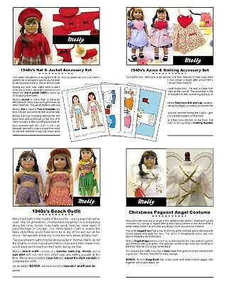 """18"""" American Girl Doll Clothes Patterns_MOLLY 1940's COLLECTION_CD or FREE Ship"""