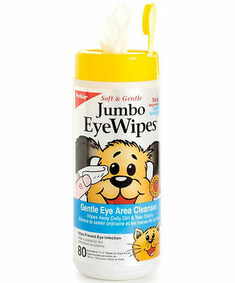 Petkin Jumbo Moist Eye Cleansing Tear Stain Remover Wipes for Dogs & Cats x 80