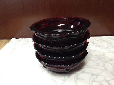 Avon Ruby Red 4 Berry Dessert Bowls Ice Cream Fruit Collectible Glass Lot
