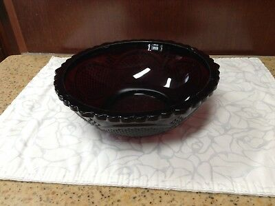 Avon Ruby Red Large Bowl Serving Vegetable Collectible Glass Centennial Edition