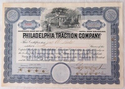 Philadelphia Traction Company Stock Certificate 1906 Signed by George Widener