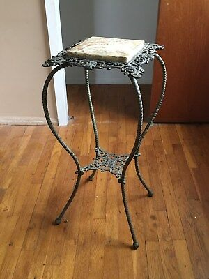 antique brass and onyx stand table