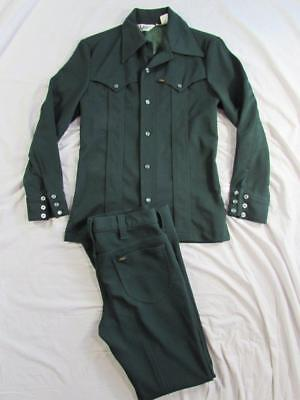 Vtg 70s Lee Riders 2 Pc Suit Western Pearl Snap Leisure Jacket & Pants USA Small
