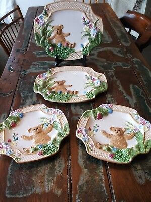 "Set of 4 BOYD'S BEARS Dishes New 2004 (2) 12 1/4"" x 10 1/4"" & (2) 9 1/2""x 91/2"""