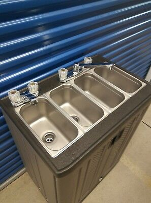 Self portable sink, mobile concession 4 compartment with hot and cool water 110V