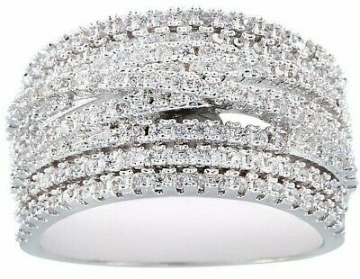 "Band Layered CZ Ring with Round Cut Sparkly CZ Stones-1/2"" wide-Silver tone-NWT"