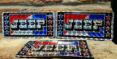 "JEEP 6"" x3"" License Plate Tag STICKER lot vtg Chroma Graphics 1980's ford amc 3d"