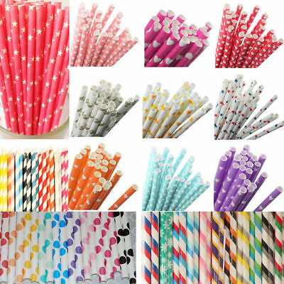 25Pcs Colorful Rainbow Paper Drinking Straws Vintage Birthday Wedding Xmas Party