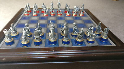 vintage frankin mint 1980's battle of waterloo pewter complete chess set