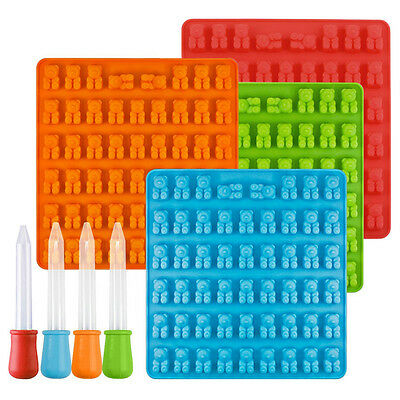 50 Gummy Maker Cavity Bear Form Chocolate Candy Ice Tray Silicone Tool