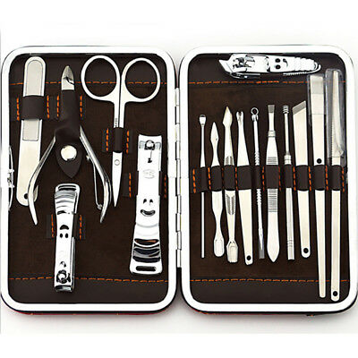 HK- 16 Pcs Nail Care Cutter Cuticle Pedicure Manicure Grooming Tool Kit Set Eyef