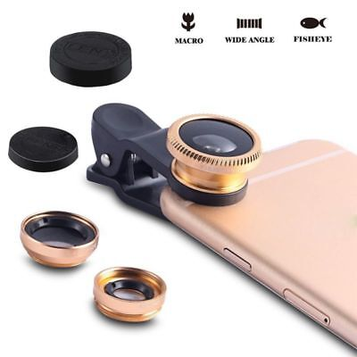 Cell Phone Camera Lens Kit 3 in 1 Fisheye Macro Wide-angle Clip Universal