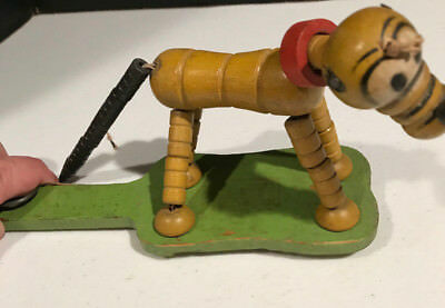 VINTAGE FISHER PRICE DISNEY 1930's PLUTO POP-UP KRITTER WOOD TOY