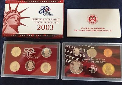 2003 U.S. Mint Silver Proof Set - with ERROR COA - 10 pc in original packaging