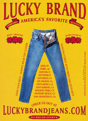 Lucky Brand Jeans print ad 2000 Yellow Background, Red Lettering