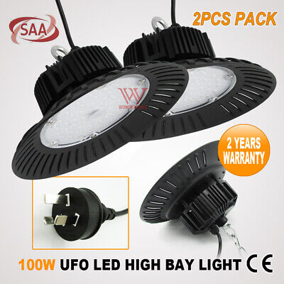 2Pcs 100W Led High Low Bay Ufo Factory Light Warehouse Work Shop Industrial Lamp