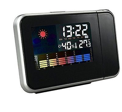 Projection LCD Digital Snooze Time Alarm Clock Projector Weather Station LED OY