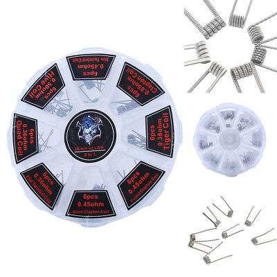 48Pcs/Set Pre Built Coils RDA RTA Flat Twisted Fused Clapton Quad Hive Alien