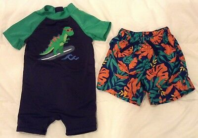 Gymboree Baby Boy 12-18 Month Lot Of 2 Swimsuits