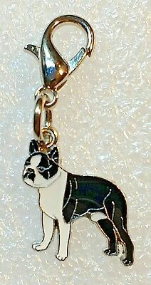 Tiny Boston Terrier Dog Pup Bag Purse Charm Dangle Zipper Pull Jewelry