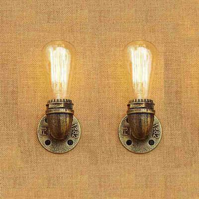 Pair of Antique gold Metal Wall Light Vintage Industrial Rustic Wall Sconce Lamp