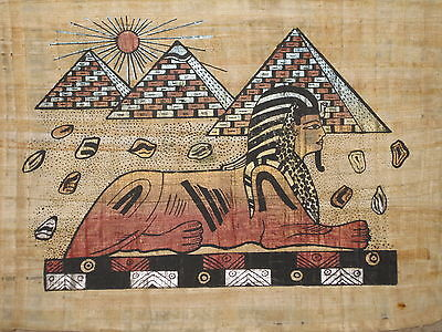 EGYPTIAN  PAPYRUS Handmade Colorful Piece Sphynx Pyramids