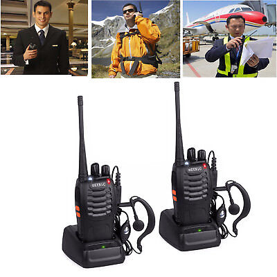 2X Baofeng Walkie-Talkie Set BF-888S 2X Headset UHF CTCSS/CDCSS Handfunkgerät