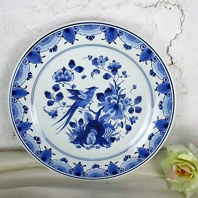 Royal Sphinx  Hand Painted Delfts Delft Blue Holland Plate Bird of Paradise