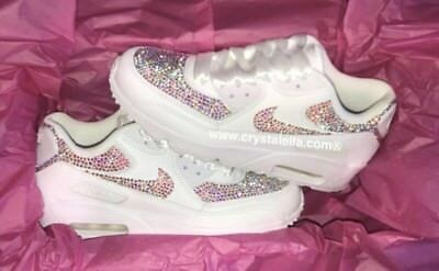 Women's Shoes CUSTOMISED WHITE PEARL CRYSTAL NIKE AIR MAX