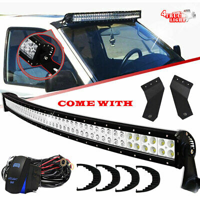 """50"""" Curved Led Light Bar + Roof Mounting Bracket Chevy GMC Sierra 1500 2500 3500"""