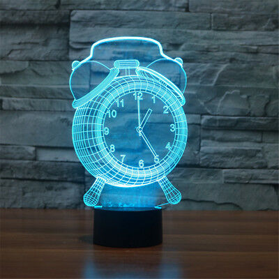 New Colorful 3D Alarm Clock Lamp Visual LED Light For Kids With Touch Button