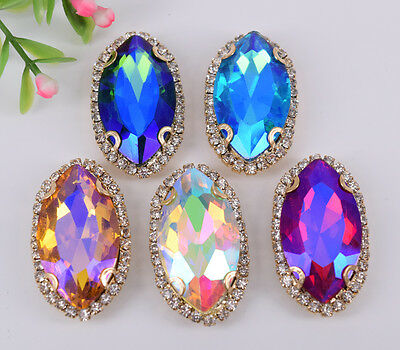 50 pcs Sew On Crystal Rhinestone Faceted Glass Color AB Navette Jewels Button