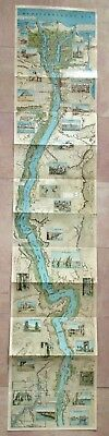 EGYPT THE NILE FROM MEDITERRANEEN TO SHELLAL XXe CENTURY MAP ORIGINAL COLORS