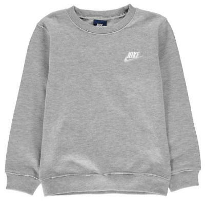 Nike Junior Brushed Sweatshirt Boys Infant Kids Fleece Top - Grey