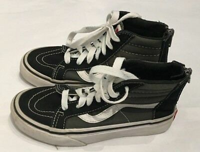 Vans Shoes High Top Zipper Lace Up Size 13 Kids Skateboard Shoes Gray Black 6ac8b9f1f