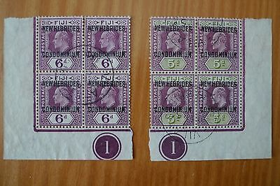 New Hebrides Plate Number 1 On George V Stamps Used ,two Blocs Of 4