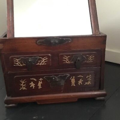 Chinese Antique Jewellery / Make Up Box with Mirror