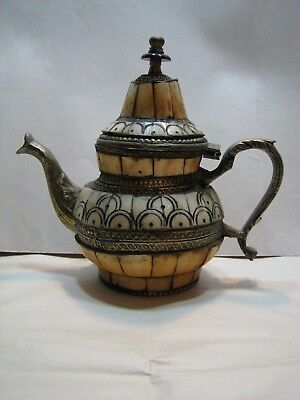 Vintage Camel Bone Teapot With Brass Trim Made In India