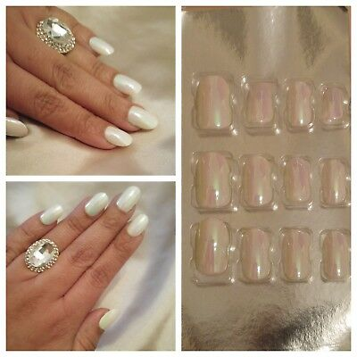 X2 24 Royal Iced Gem pearly white false fake glue on nails snowy icy iridescent