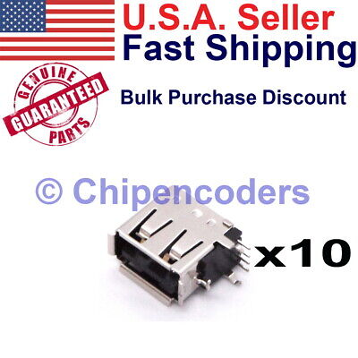10 pcs USB Type-A Female Socket Connector PCB Mount Vertical--Board Space Saver