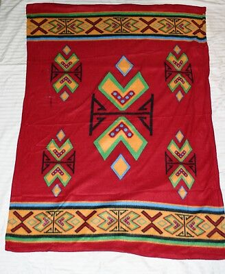 American Indian Relief Council Fleece Lap Blanket Southwestern Red New