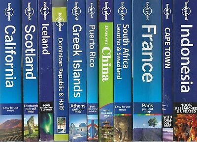 Lonely Planet Travel Book lot- Iceland Scotland France Greece South Africa guide
