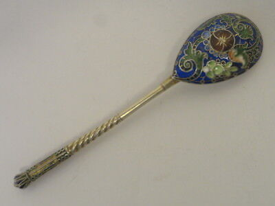 Antique Russian silver 84 cloisonne enamel spoon by 11th Artel. 4.1 inches