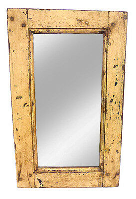 A Rustic, Wood Framed Mirror With Original Distressed Paintwork