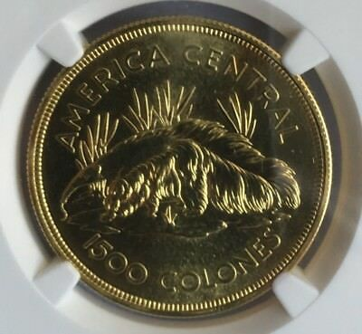 Costa Rica Gold 1500 Colones Anteater NGC MS 64