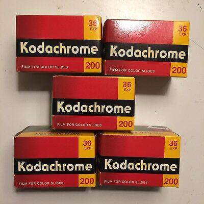 (5) Vintage Kodak Kodachrome 200 Color Slide Film- 35mm, 36 exp. - Expired 8/07