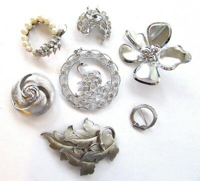 Vintage Lot Silver Brooches Pins Monet Hayward Flower Power Rhinestones Pearls